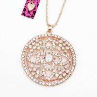 Betsey Johnson Crystal Rhinestone Round Flower Pendant Sweater Chain Necklace
