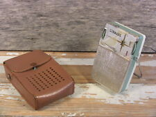 Vintage Transistor Radio Linmark T-80 + Leather Case For Parts or Repair '60s