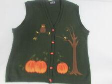 Southern Lady Fall Autumn Sweater Vest Pumpkins Owl Womens Medium