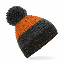 Beechfield Hand-knitted Bold Three Colour Stripe Design Freestyle beanie Hat