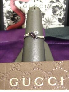 GUCCI STUNNING ONE OF A KIND HEART & DIAMOND 18K WHITE GOLD RING - BRAND NEW!