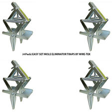 (4 Pack) Easy Set Mole Eliminator Traps Made in U.S.A. by Wire-Tek Free Shipping