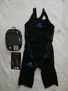 Adidas Adizero GLD20 Kneesuit BodySkin Competition Swimsuit Black/Blue 32 BNWT