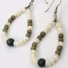 Beaded Shell Stone Dangle Hoop Earrings Boho Chic