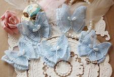 Butterfly Applique Trim Bridal Lace applique Blue Embroidery Wedding Motif 4 PCs