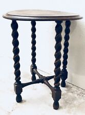 Antique English barley twist round top side table wine table Accent table