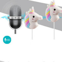 3.5mm Earphones Earbuds Rainbow Unicorn Headphones for Girl Children Headset NEW