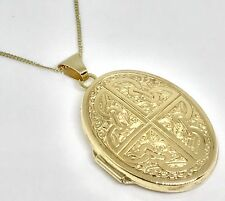 9ct Yellow Gold Vintage Celtic Oval Locket & 9ct Gold Curb Chain, Hallmarked! 4g