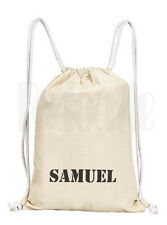 Personalised Boys 'Stencil Print' Drawstring Rucksack Canvas Gym/ PE Bag
