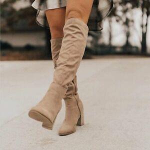 Women Keen High Boots Block High Heels Ladies Pointed Toe Microfiber Suede Shoes