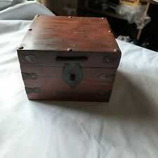 WOODEN BOX..HINGED LID..METAL STRAPING.LOCKABLE HASP