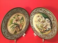 """LILLIAN AUGUST TOYO PLATES HAND PAINTED LILIES GOLD 10 1/4"""" SET OF 2 VINTAGE"""