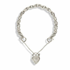 9CT WHITE GOLD ENGRAVED ROPE CHARM BRACELET HEART PADLOCK CHARMS SAFETY CHAIN