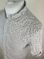 Mens All Saints Kawaba Short Sleeve Floral Shirt Grey Small 38-40 Chest