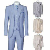 Executive Fit Striped Seersucker Suit 2-Button Single Breasted 3-PC w/Vest&pants