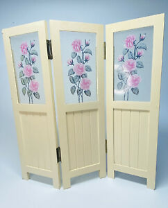 """3 Panel Trifold Mini Tabletop Divider 15"""" tall - Country Decor Pink Roses (B4)"""
