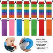 Baby Rainbow Blocks Chew Sensory Necklace Brick Autism Silicone Biting Teether.R