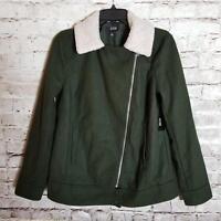 A.n.a Women's Jacket Size M Dark Green Zip-Up Faux Fur Neckline