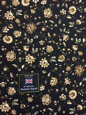 Negro Retro Flores Floral Impreso 100% Tela Popelina de Algodón