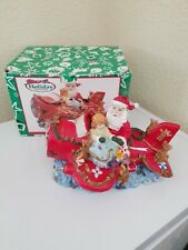 Holiday Treasures Musical Lighted Santa in a Airplane Figurine with box - Works