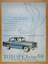 1959 Toyota TOYOPET Crown Custom Sedan car art vintage print Ad