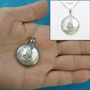 Solid Sterling Silver .925 Kuan Yin on a 24mm White Mother of Pearl Pendant TPJ