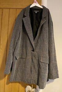 Primark Curve Grey Check Long Winter Blazer Jacket Coat Size 20 Plus Size 🎄