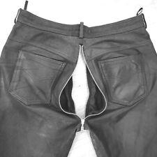 G A Y Lederhose52 54 L W34 Back-Reißverschluss Herren, schwarz, matt Wildleder