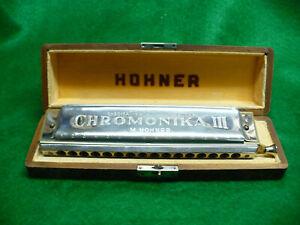 Vintage Hohner Chromonika III Chromatic Harmonica in Case
