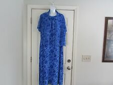 NWT Maggy London Women's Long Maxi Dress Size 22W  Blue Floral 100% Silk