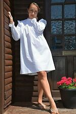 New Womens Ex Warehouse White Pintuck Funnel Neck 100% Cotton Dress Size 8-18