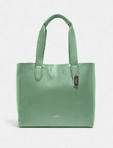 $298 Authentic Coach Large Derby Tote Leather Washed Green 58660 NWT NEW