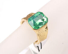 Park Lane Matt Gold Tone Ring with Green Stone, Size Q