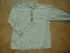 bestickt Langarm-Hemd XL 58 Stickerei 45-46 Trachten-Hemd grau Hirschhorn-Knöpfe