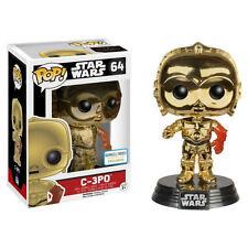 STAR WARS VII the force awaken FUNKO POP Figurine C-3PO METALLIC 9cm EXCLUSIVE