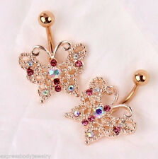 14g IP Rose Gold Butterfly Navel Belly Ring Multi Clear AB Pink Gem CZ 1 PIECE