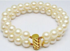 """Fashion 2Row 8- 9mm White Cultured Pearl Bracelet 7.5"""""""