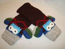 deLux Argyle SOCK snake MONKEY MITTENS knit ADULT knitwits brown red blue animal