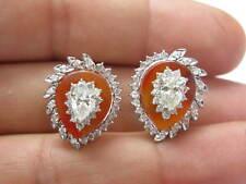Fine Pear Shape Diamond Designer White Gold Huggie Earrings 1.90CT
