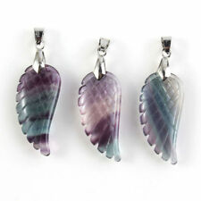 Silver Plated Natural Fluorite Gemstone Angel's Wing Stone Pendant Charm Random