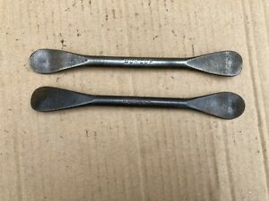 """PAIR VINTAGE  7""""  SPOON TYRE LEVERS, TIRE IRONS, DUNLOP,273, CLASSIC MOTORCYCLE,"""