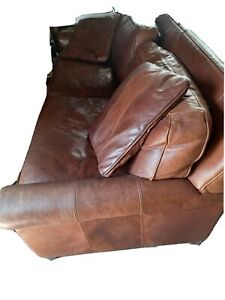HEAVY BROWN THICK LEATHER SOFA COUCH  HUGE