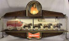 BUDWEISER Clydesdale & Dalmatian Wagon Hanging Sign / Clock ~ ADVERTISING Light