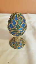 Faberge Rucinni Style Jeweled Enameled Egg Shaped Trinket Box - Green and Blue