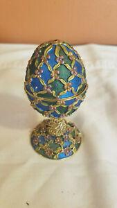 Faberge Rucinni Style Jeweled Enameled Egg Shaped Trinket Box - Green and Blue
