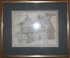 1831 Surrey County Map by S Hall Hand Coloured Framed Chapman and Hall