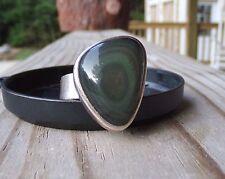 Sterling Silver Cocktail Designer Hunter Green Stone SJ Size 7 Adjustable Ring