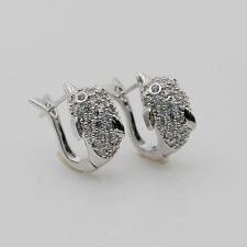 Fashion Lovely Dolphin Hoop Earrings White Gold Plated Zircon Woman/Girl Jewelry