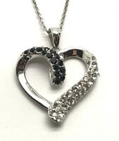 Sterling Silver Black Onyx - CZ Cluster Pave Curved Fancy Heart Pendant Necklace