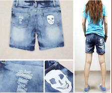 White Skull Jeans Denim Shorts Hot Pants  9189  Size L